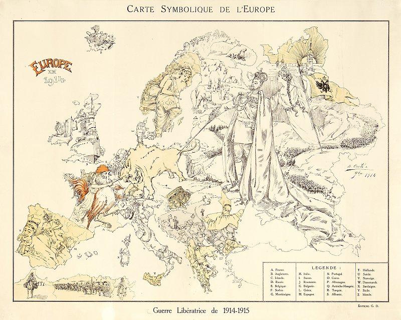 Carte Symbolique de L'Europe. Europe en 1914. Guerre Libératrice