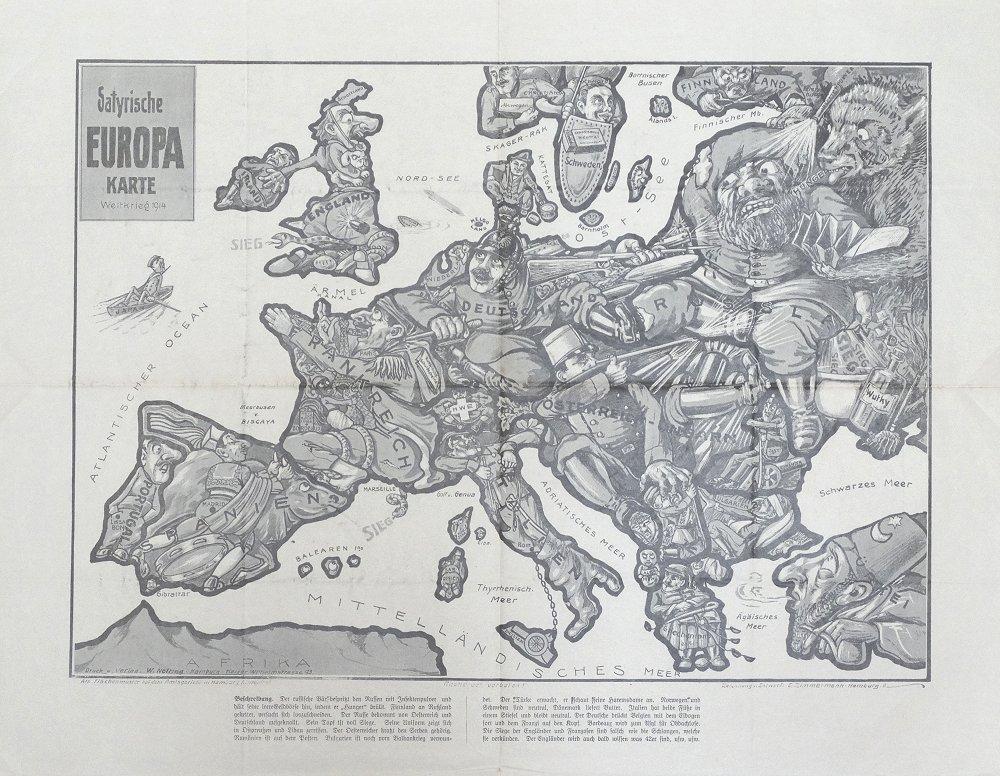 Karte Von Europa 1914.Satyrische Europa Karte Weltkrieg 1914 Barron Maps