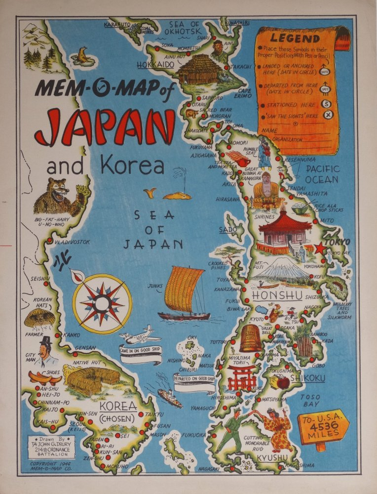 MemOMap Of Japan And Korea Barron Maps - Japan map legend