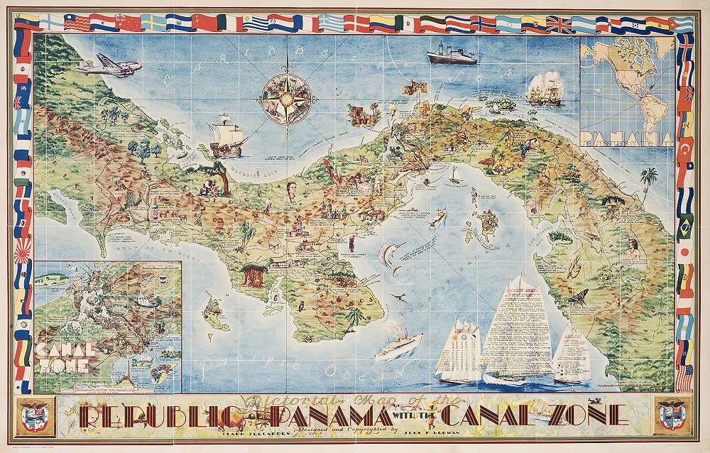 it was copyrighted on may 20th 1941 just seven months prior to the us entry into world war ii and enled pictorial map of the republic of panama with the
