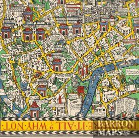 London Town Map.The Wonderground Map Of London Town Drawn By Macdonald Gill