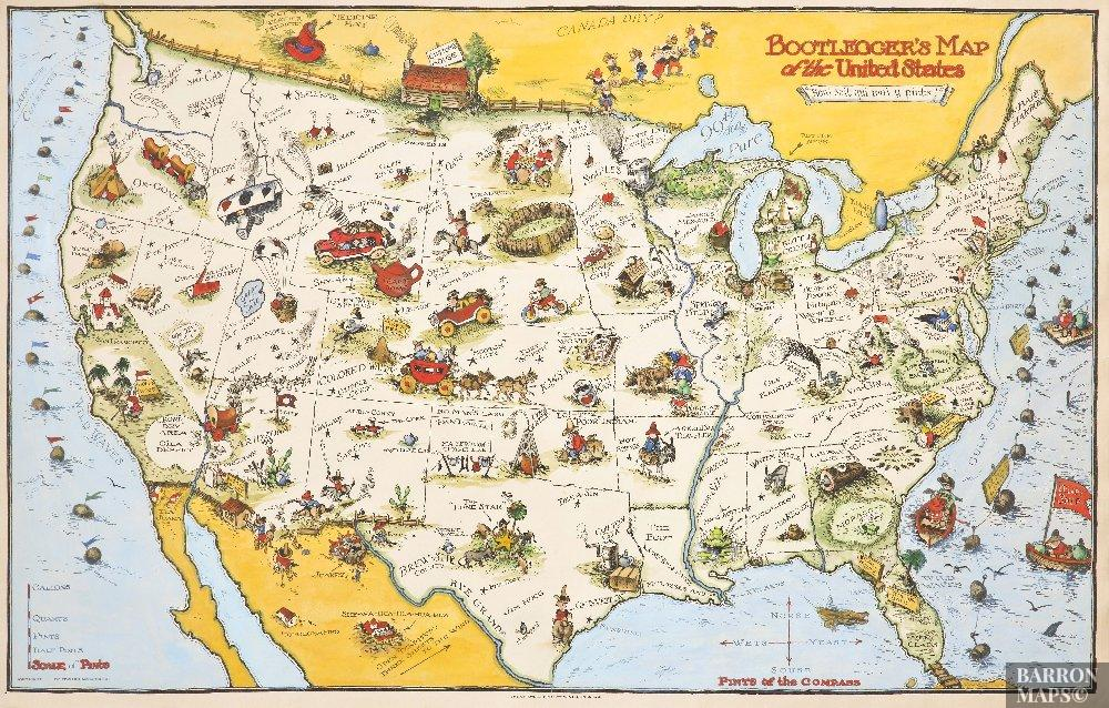 Bootleggers Map Of The United States Barron Maps - Us-map-1930